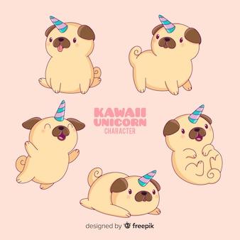 Colección de personajes kawaii perro unicornio