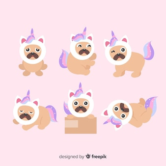 Colección de personajes kawaii de unicornios adorables