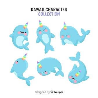 Colección de personajes kawaii de unicornios