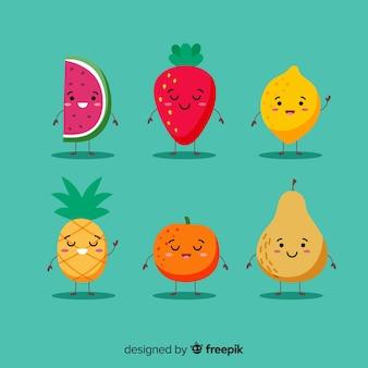 Colección de personajes kawaii de verano adorables