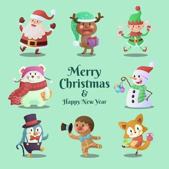 Colección de personajes lindos y divertidos de feliz navidad y próspero año nuevo