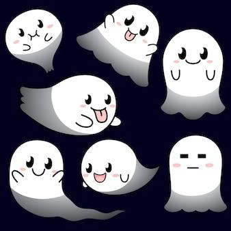 Colección de personajes lindos fantasmas