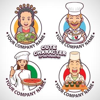 Colección de personajes lindos para logotipos de la industria alimentaria.