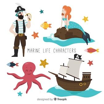 Colección de personajes marinos