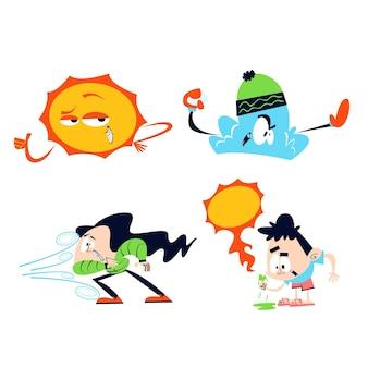 Colección de personajes meteorológicos de dibujos animados