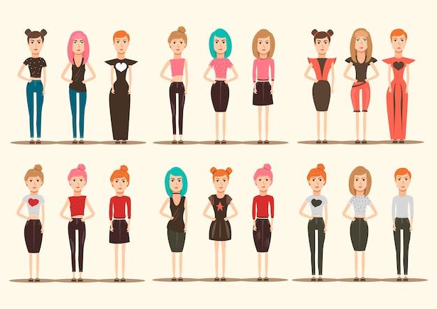 Colección de personajes de modelos de pasarela