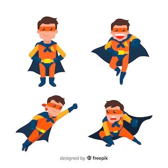 Colección de personajes modernos de superhéroes con diseño plano