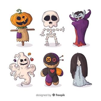 Colección de personajes de monstruos de halloween dibujados a mano