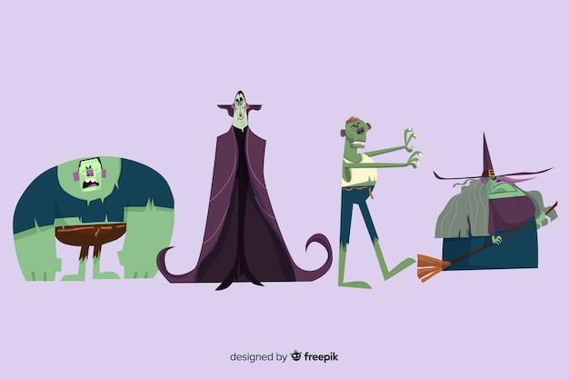 Colección de personajes de monstruos de halloween