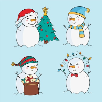 Colección personajes muñeco de nieve dibujado a mano