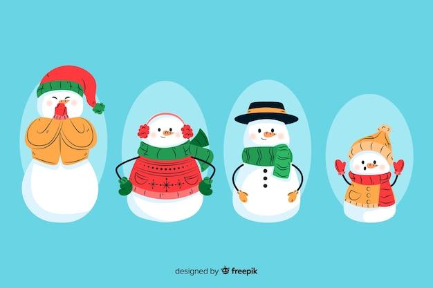 Colección de personajes de muñeco de nieve dibujados a mano
