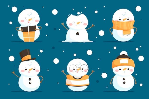 Colección de personajes de muñeco de nieve de dibujos animados