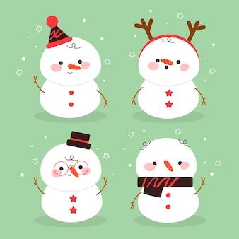 Colección de personajes de muñeco de nieve en diseño plano