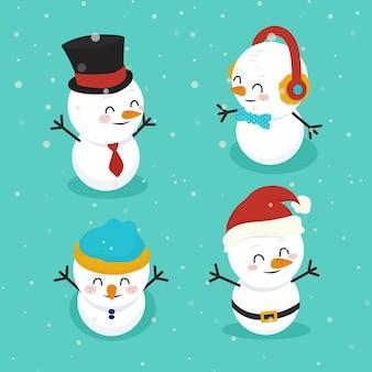 Colección de personajes de muñeco de nieve de diseño plano