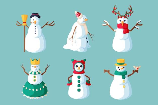 Colección de personajes de muñeco de nieve de ilustración de diseño plano