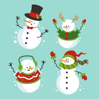 Colección de personajes de muñeco de nieve plana