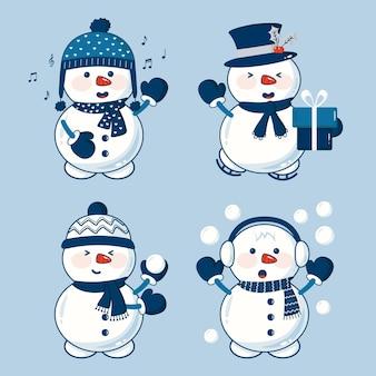 Colección de personajes de muñeco de nieve plano