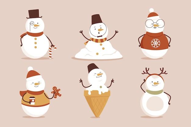 Colección de personajes de muñeco de nieve