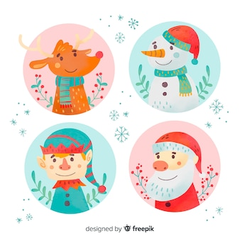 Colección de personajes de navidad de acuarela