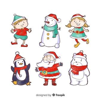 Colección de personajes de navidad en acuarela