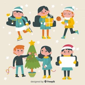 Colección personajes navidad dibujada a mano