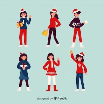 Colección de personajes de navidad en diseño plano