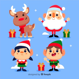 Colección de personajes de navidad de diseño plano