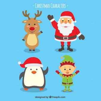 Colección de personajes de navidad sonrientes