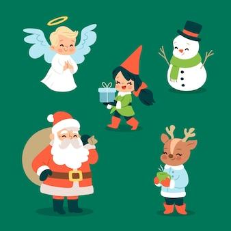 Colección de personajes navideños dibujados a mano de santa claus de diseño plano