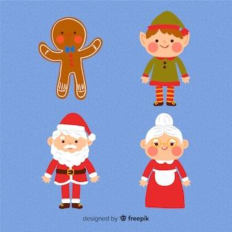 Colección de personajes navideños dibujados a mano