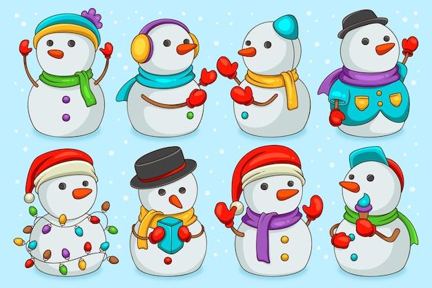 Colección personajes navideños dibujados a mano
