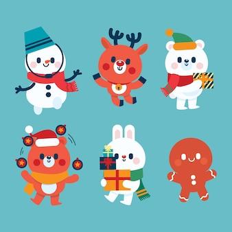 Colección de personajes navideños en diseño plano