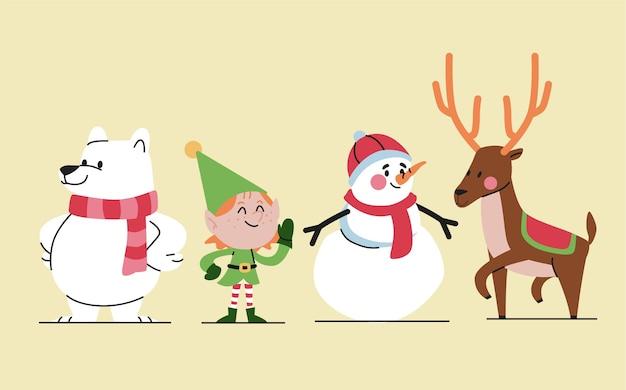 Colección personajes navideños en diseño plano