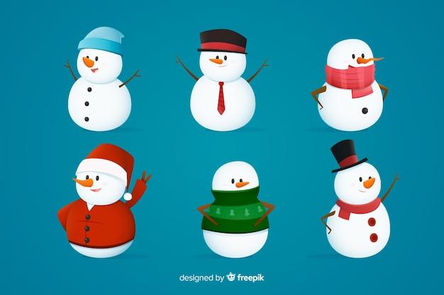 Colección de personajes navideños de muñeco de nieve
