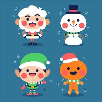 Colección personajes navideños planos
