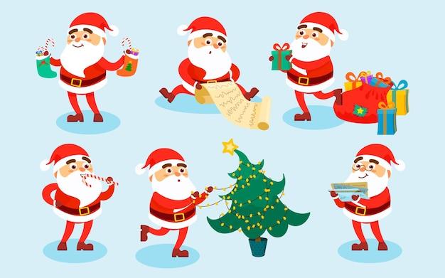 Colección de personajes navideños de santa claus