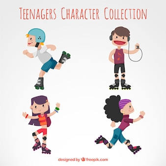 Colección de personajes patinadores adolescentes