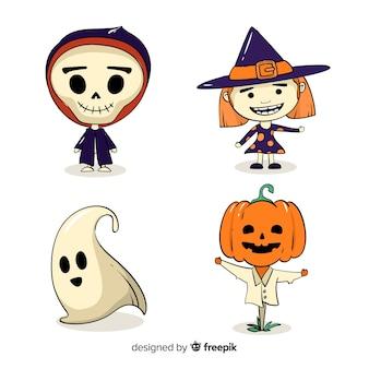 Colección de personajes de pegatinas para halloween