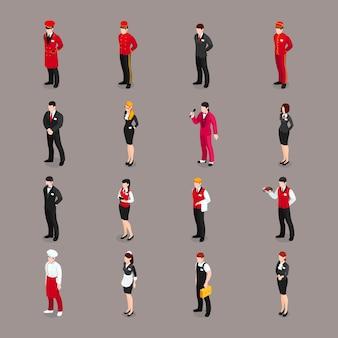Colección de personajes del personal de hospitalidad
