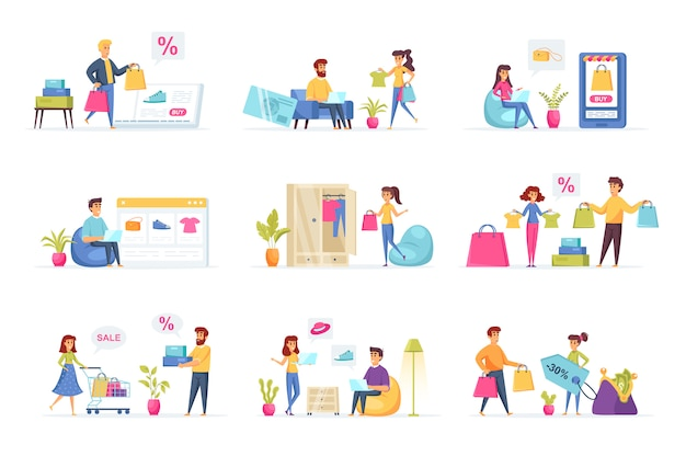 Colección de personajes de personas de compras.