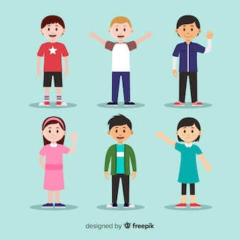 Colección personajes saludando día del niño