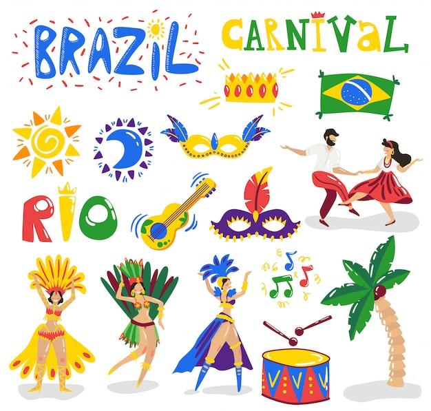 Colección de personajes de símbolos coloridos de celebración de carnaval de brasil con instrumentos de música trajes de bailarines máscara ilustración de vector de bandera de sol