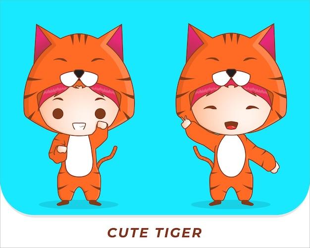 Colección de personajes de tigre lindo