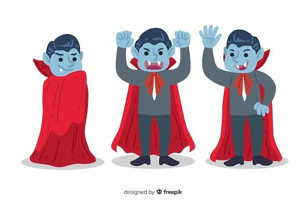 Colección de personajes vampiros dibujados a mano sobre fondo blanco.