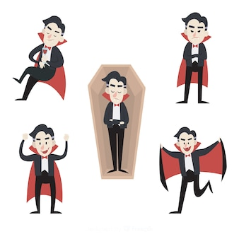 Colección de personajes vampiros dibujados a mano