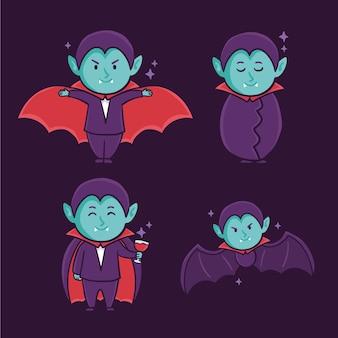 Colección de personajes de vampiros de diseño dibujado a mano