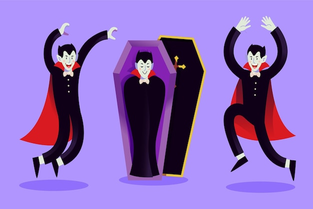 Colección de personajes de vampiros en diseño plano