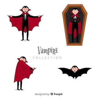 Colección de personajes de vampiros de halloween dibujados a mano
