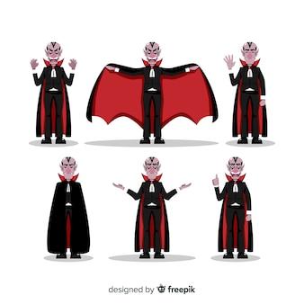 Colección de personajes de vampiros de halloween con diseño plano