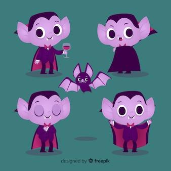 Colección de personajes vampiros planos con orejas de elfo